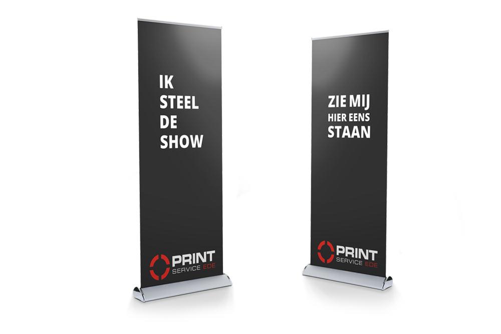 roll-up banners en presentatieschermen